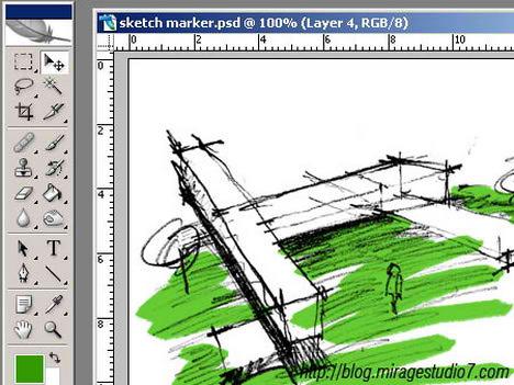 photoshop digital marker coloring autocad technique tutorial