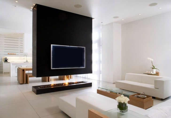Modern Black Fireplace