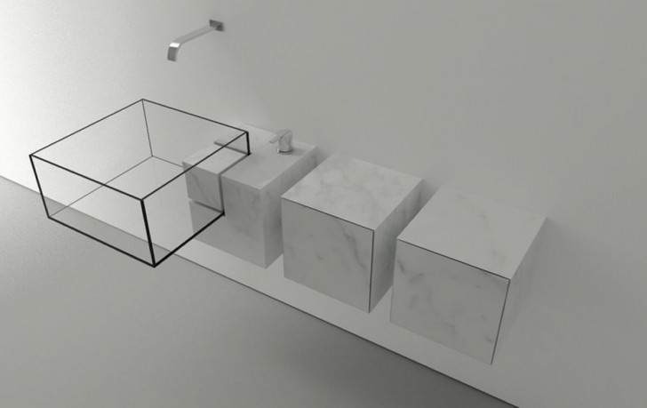 Kub Basin's sparse yet luxurious materials challenges the conventional bathroom sink