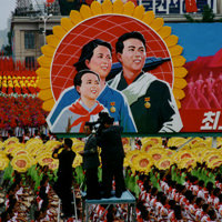 People's Parade on 55th anniversary of the Founding of DPRK- flo