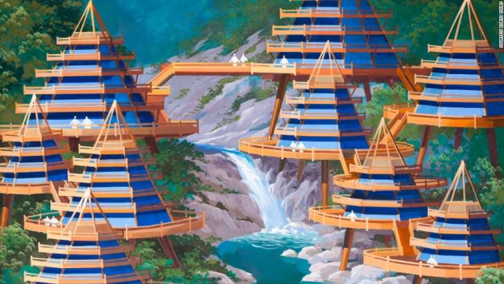 A designer envisions a cluster of holiday villas overlooking a waterfall in the Mount Kumgang region. North Korean's Architect and Designer's Vision Of The Future