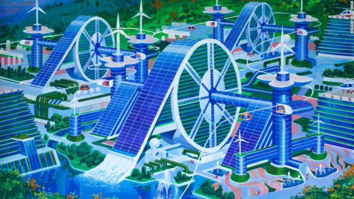 A futuristic silk cooperative that aims to bring together workers of the countryside has plenty of space for wind turbines and helicopter landing pads. The style depicts a traditional Korean hand wheel which is used for weaving. North Korean's Architect and Designer's Vision Of The Future